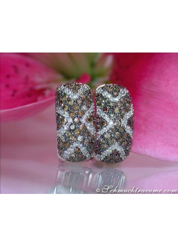 Gorgeous Natural Brown & White Diamond Earrings