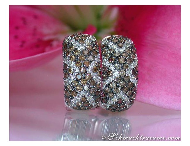 Gorgeous Natural Brown & White Diamond Huggie Earrings
