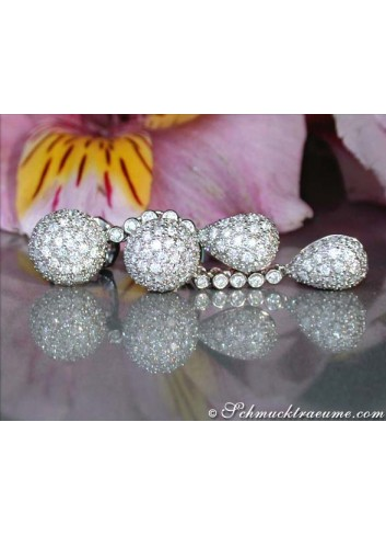 Pretty Drop and Ball Earrings with Diamonds