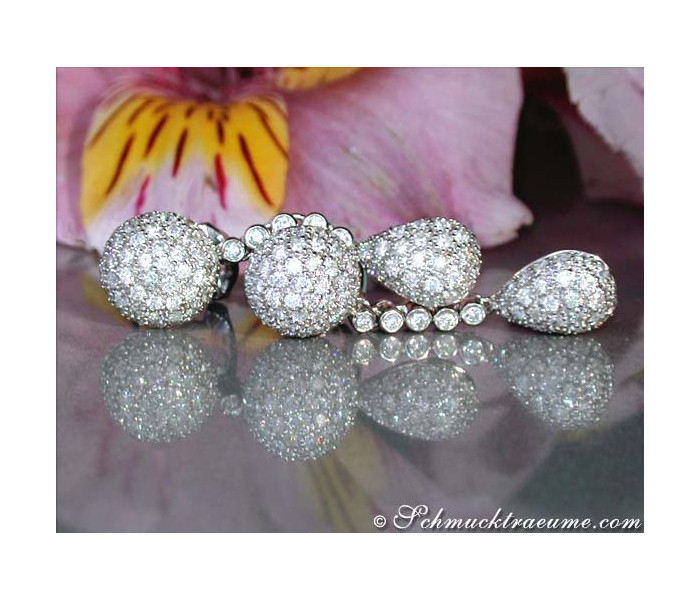 Pretty Pear and Ball Earrings with Diamonds