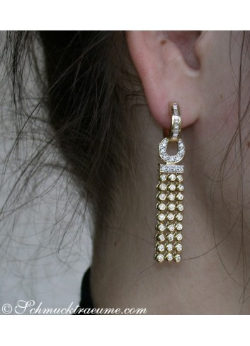Splendid Dangling Earrings with Diamonds in Yellow gold 14k