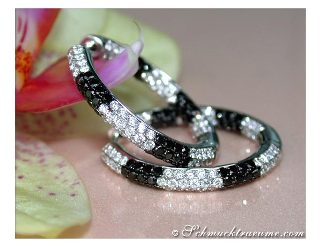 Attractive Hoops with Black & White Diamonds