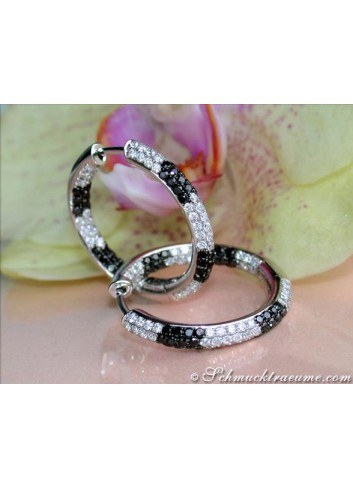 Sporty Hoops with Black & White Diamonds