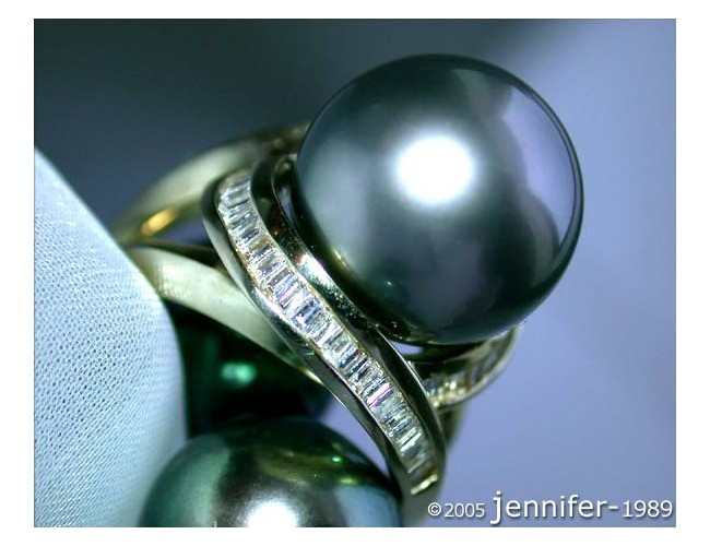 Fabulous Tahitian Pearl Ring with Diamonds