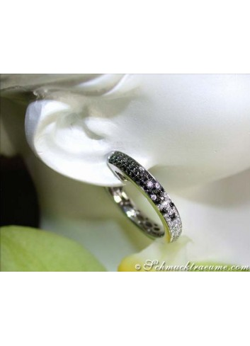 Elegant Black & White Diamond Hoop Earrings