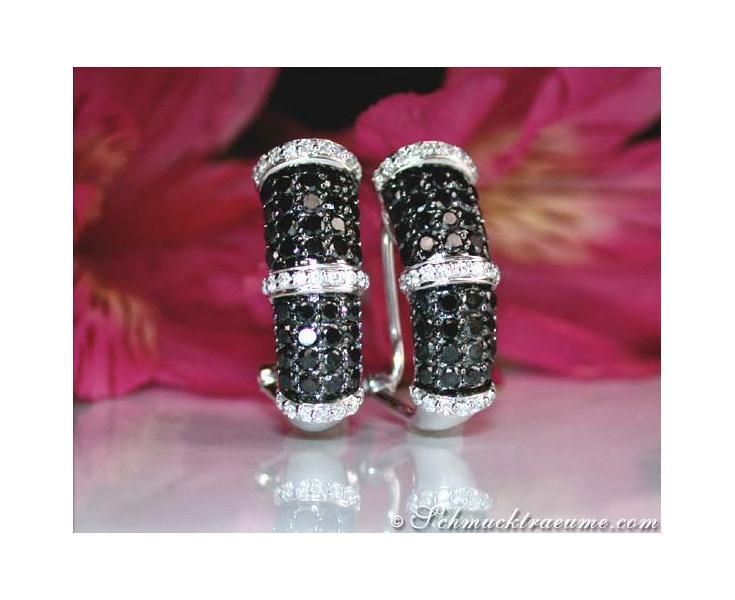 Timelessly Elegant Black & White Diamond Earrings