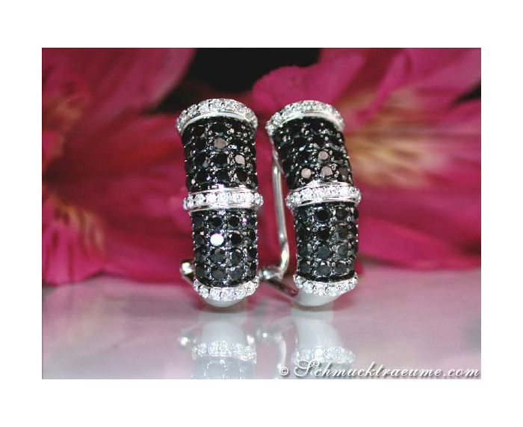 Brillanten & schwarze Diamanten Ohrstecker