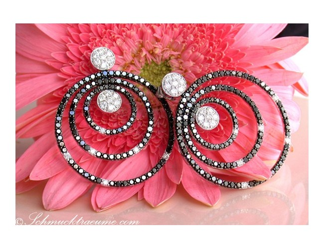 Stunning Black & White Diamond Earrings