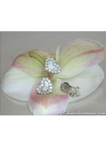 Pretty Diamond Heart Stud Earrings