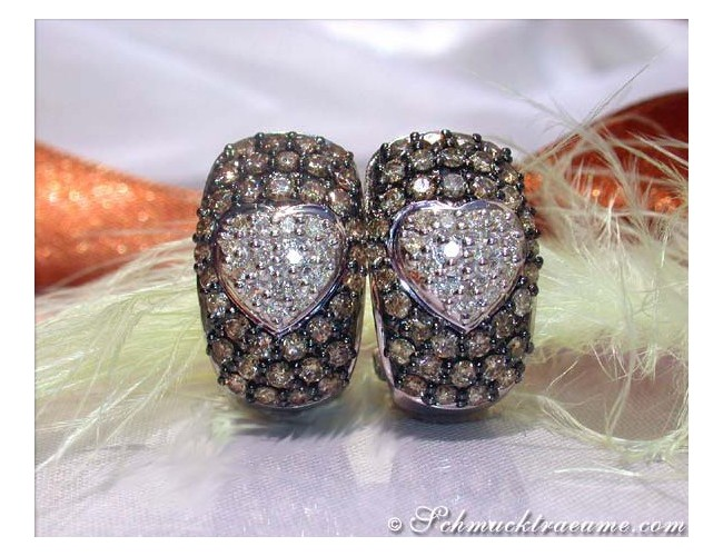Pretty Brown & White Diamond Heart Earrings