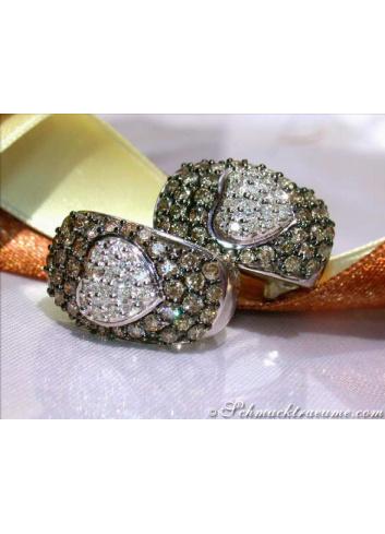 Pretty Brown & White Diamond Heart Earrings