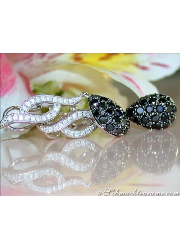 Wonderful Black & White Diamond Earrings