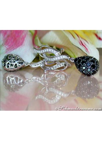 Wonderful Black & White Diamond Earrings