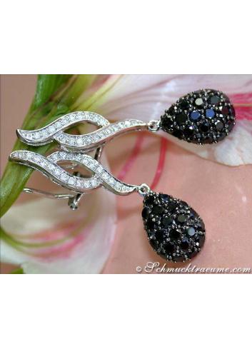 Ohrgehänge mit Brillanten & schwarzen Diamanten