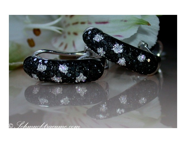 Timeless Black & White Diamond Polkadot Earrings
