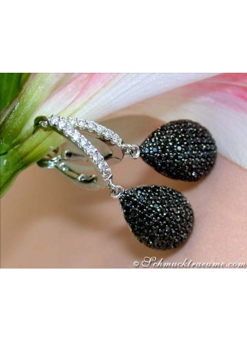 Interesting Black & White Diamond Teardrop Earrings