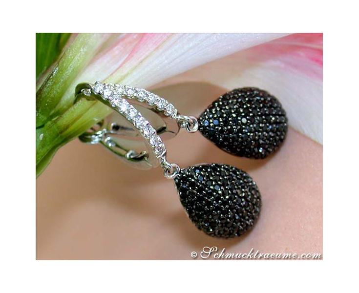 Interesting Black & White Diamond Teardrop Earrings
