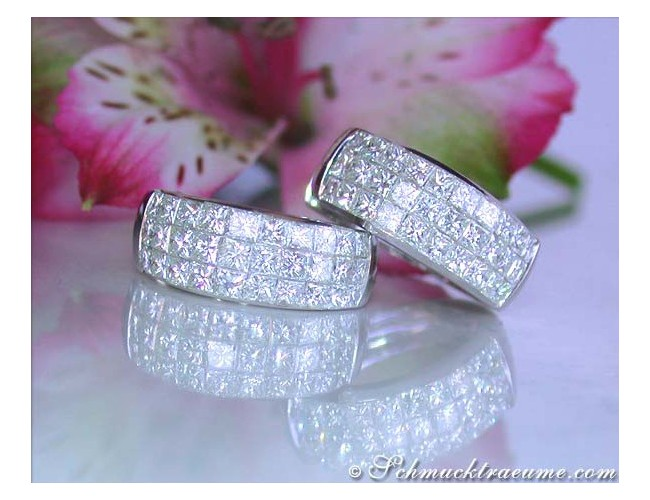 Elegant Princess Diamond Hoop Earrings