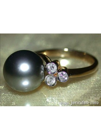 Tahitiperle Ring mit Brillanten