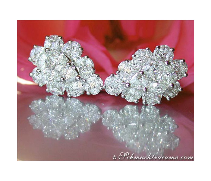 Unique Pear Shaped Diamond Earrings (Illusion Design)