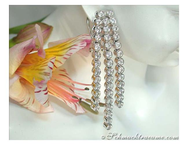 Long Dangling Earrings with Diamonds (Chain Style)