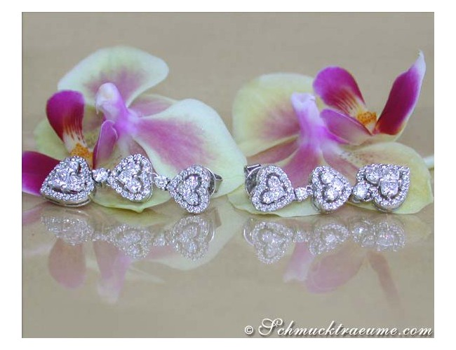 Beautiful Dangling Earrings with Diamond Hearts