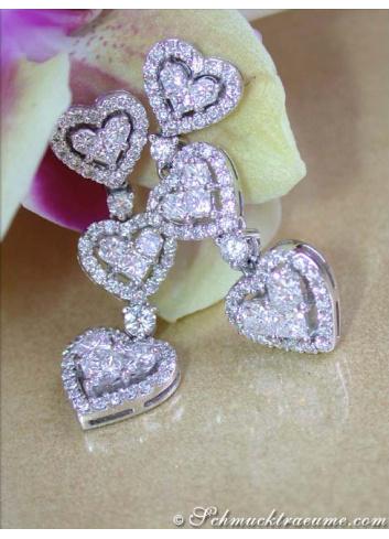 Brillanten Diamanten Herz Ohrgehänge