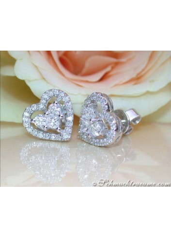 Pretty Diamond Heart Studs with Princess Diamonds