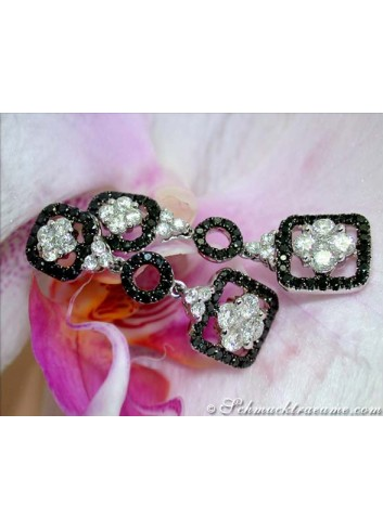 Unique Hanging Earrings with Black & White Diamonds