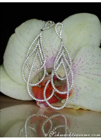 Extra Long Pear Shaped Dangling Earrings with Diamonds (60 mm)