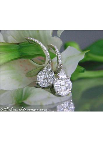 Diamanten Tropfen Ohrringe