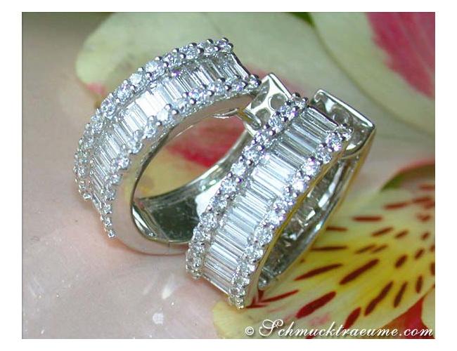 Prachtvolle Diamanten Creolen (Baguette & Brillant Schliff)