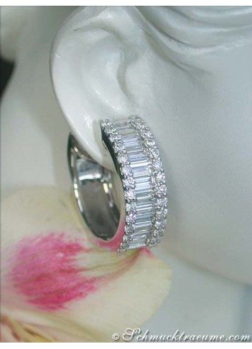 Magnificent Diamond Hoop Earrings (Baguette & Brilliant Cut)