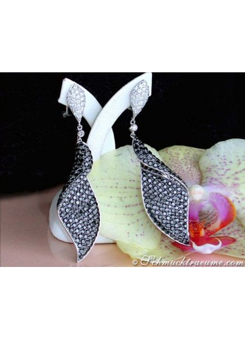 Terrific Black & White Diamond Dangling Earrings (68 mm)