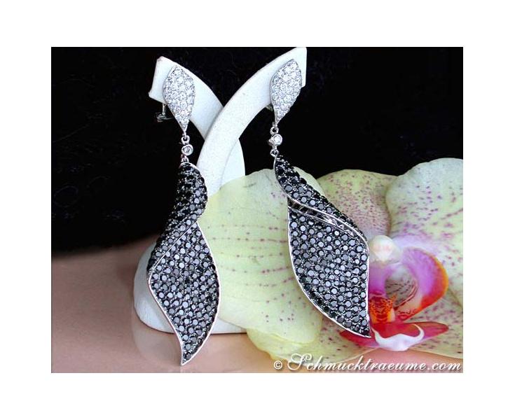 schwarze Diamanten Ohrringe in weißgold groß
