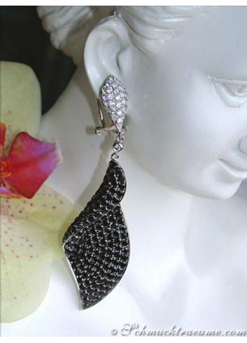 Terrific Black & White Diamond Dangling Earrings (68 mm)