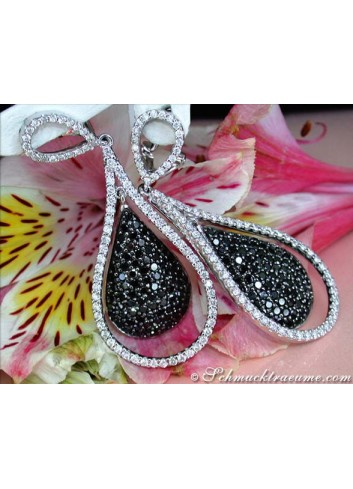 Beautiful Black & White Diamond Dangling Earrings