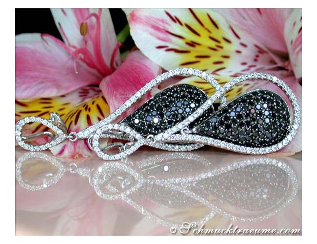 Beautiful Black & White Diamond Dangling Earrings
