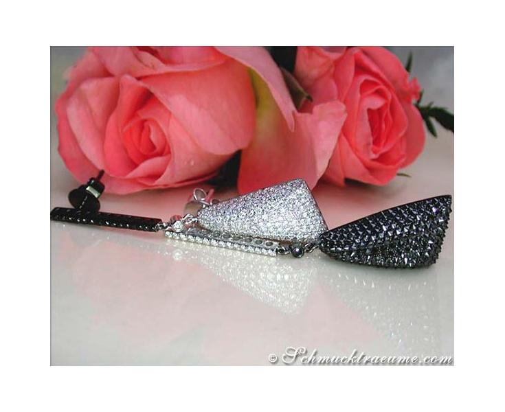 Schwarze Diamanten & Brillanten Ohrgehänge