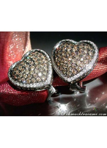 Pretty Heart Studs with Natural Brown & White Diamonds