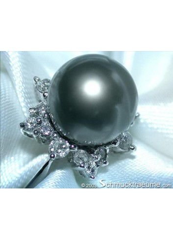 "Tahitian Pearl Diamond ""Star Design"" Ring"