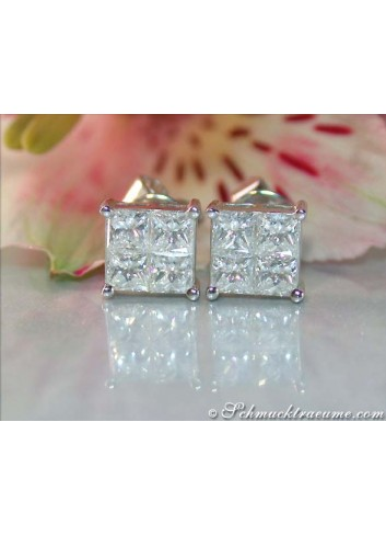 Finest Princess Diamond Stud Earrings (1,22 ct.)