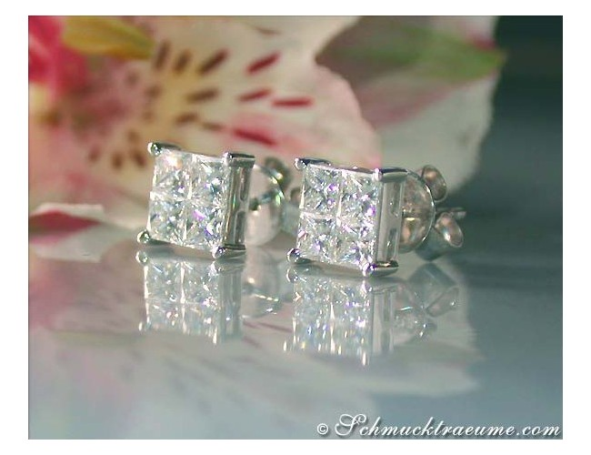 Finest Princess Diamond Stud Earrings