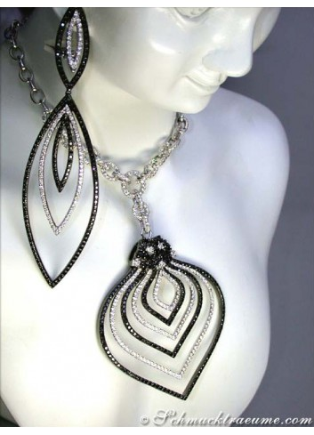 Extra long Dangling Earrings with Black & White Diamonds