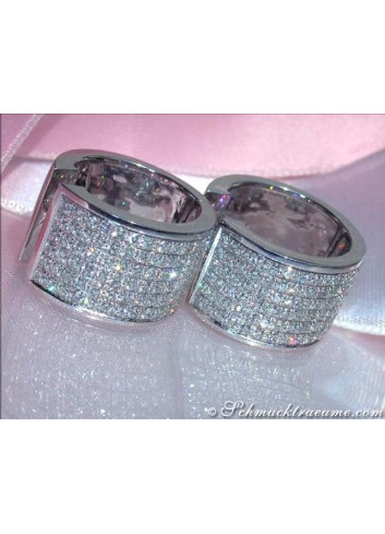 Exquisite Diamond Hoop Earrings in White gold 18k