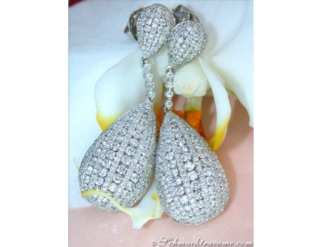 Extra long Diamond Dangling Earrings