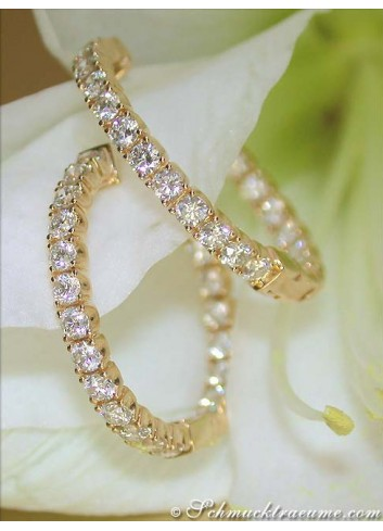 Classic Diamond Hoops in Yellow gold 14k