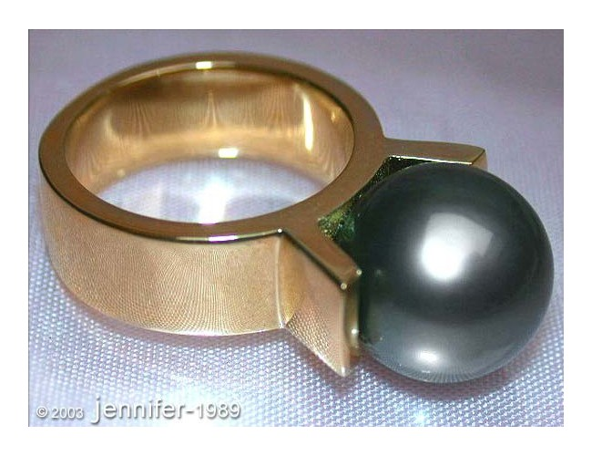 Tahitiperle Ring in Gelbgold 585