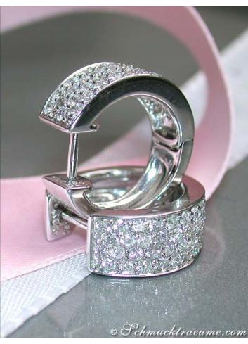 Stately Diamond Huggie Earrings