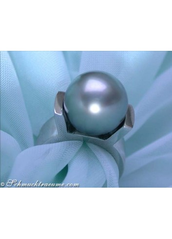 Massive Tahitian Pearl Ring in White gold 14k